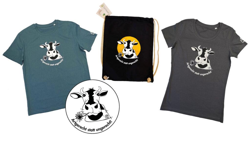 Zwei Tshirts und ein Beutel mit einem Aufdruck einer Kuh mit Blume