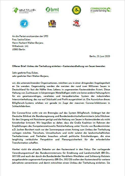 Offener Brief an die Parteivorsitzenden der SPD