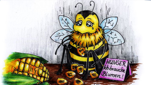Illustration einer hunrigen Biene