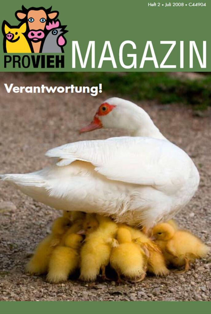 Cover, eine weiße Ente mit Küken
