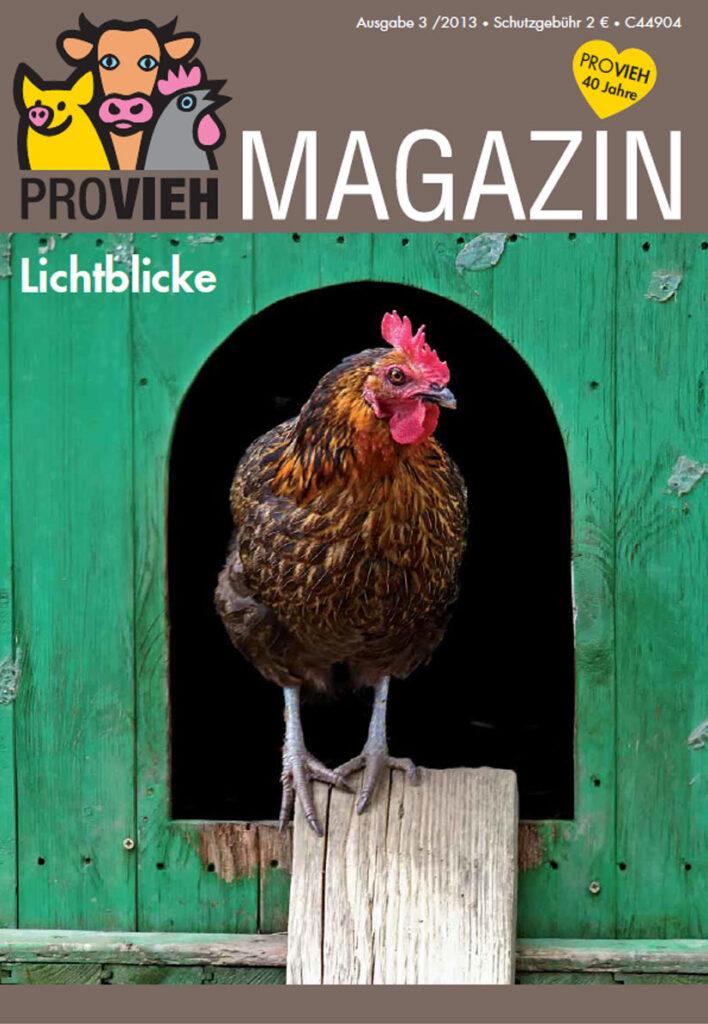 Cover, ein Huhn kommt aus einem Stall