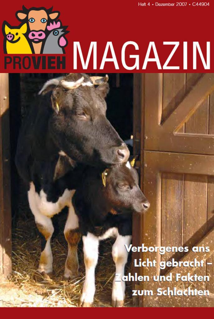 Cover, eine Kuh mit Kalb schaut aus dem Stall