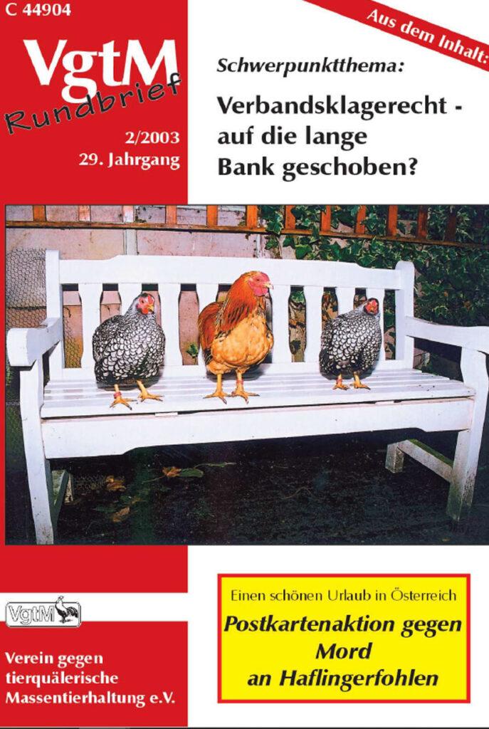 Cover, drei Hühner auf der Bank