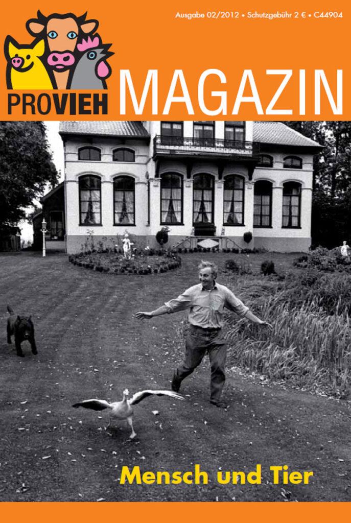 Cover, schwarz weiß Fotografie von einem Mann mit Gans