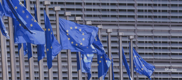 Das EU Parlament und Europaflaggen