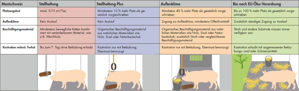 Stufen der Schweinehaltung