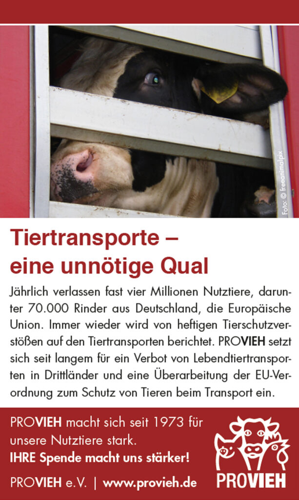 Freianzeige Tiertransport