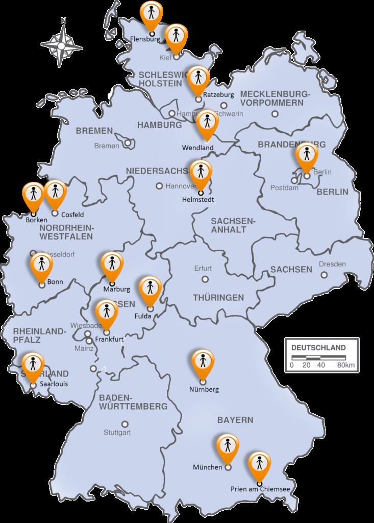 Deutschlandkarte mit eingezeichneten Regionalgruppen
