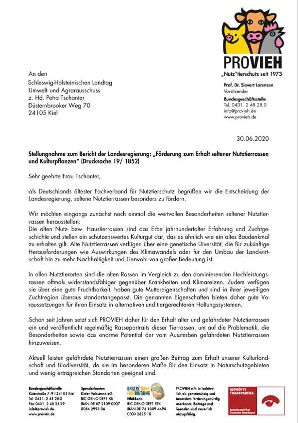 Stellungnahme Foerderung zum Erhalt seltener Nutztierrassen