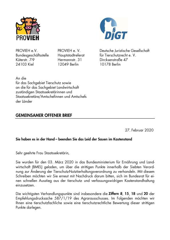 offener Brief, Kastenstand Schweinehaltung