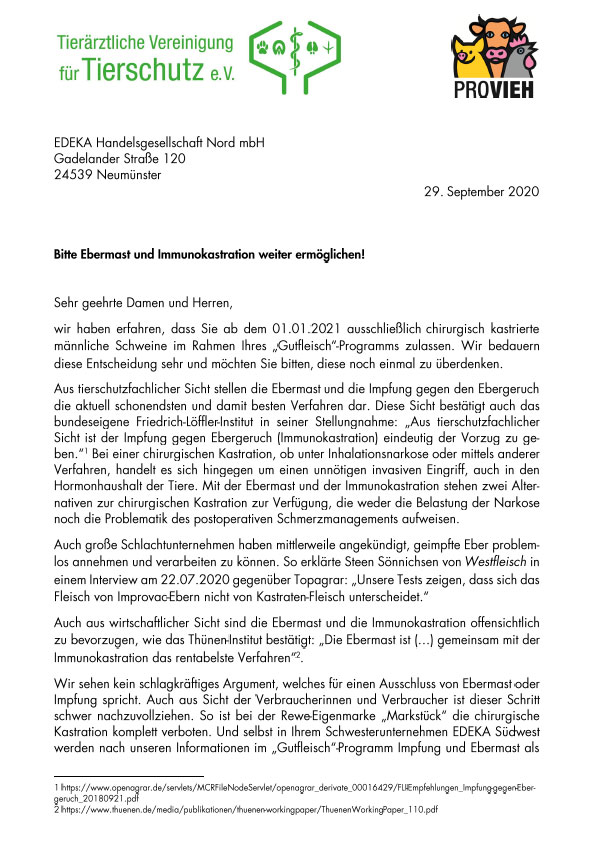 Brief an Edeka Nord