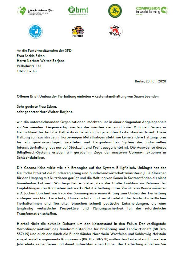 Offener Brief SPD Kastenstand