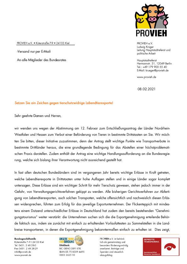Brief an Bundesrat