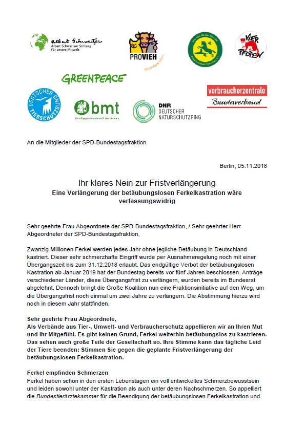 Brief an SPD Abgeordneten Ferkelkastration