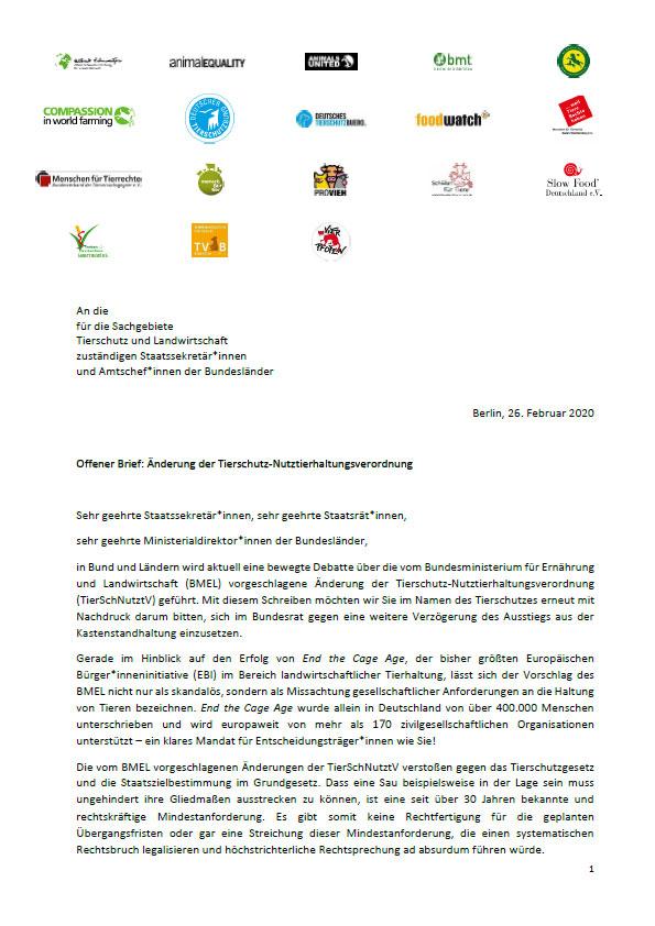 Offener Brief Verbände Tierschutz