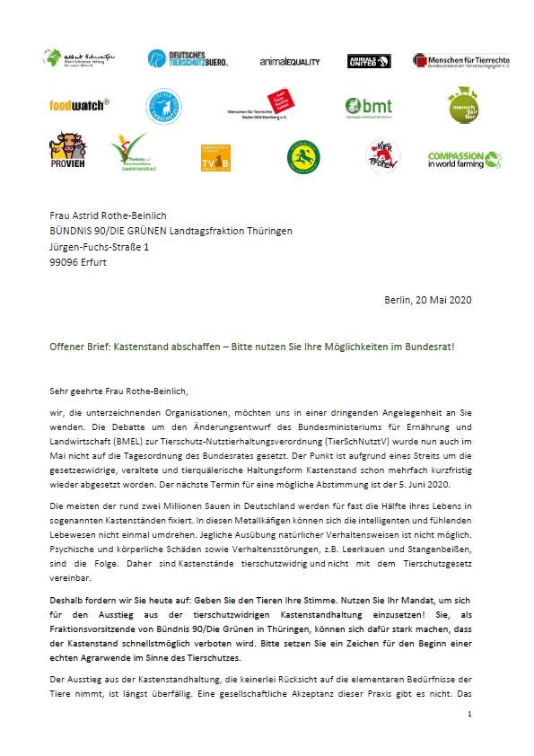 Offener Brief Astrid Rothe Beinlich Kastenstand