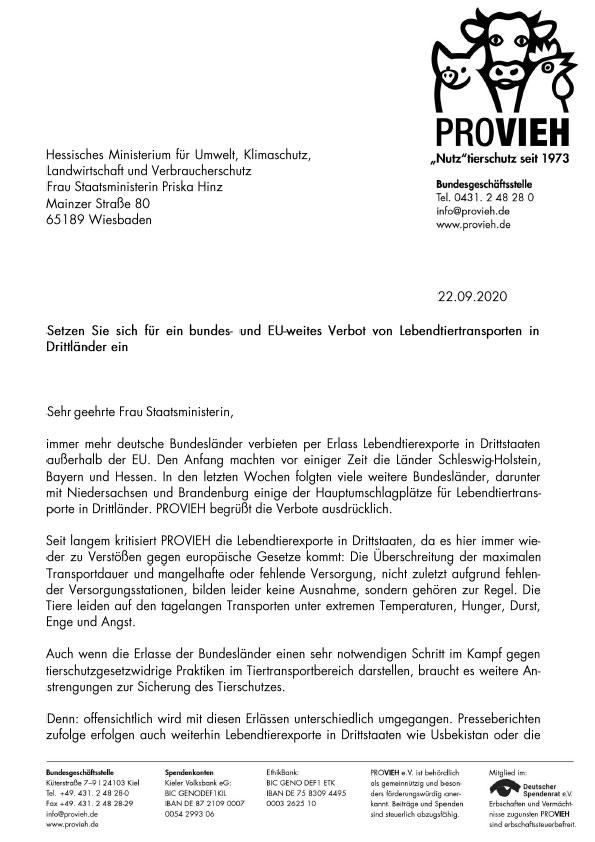 Schreiben an Staatsministerin Priska Hinz
