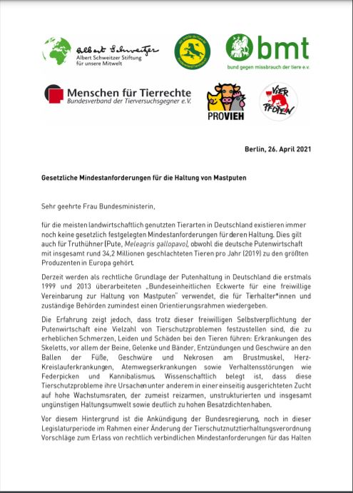 Mastputen offener Brief