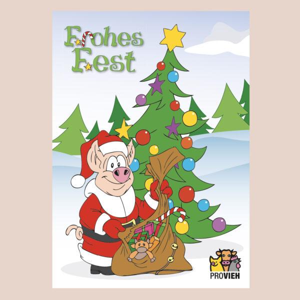 "Postkarte Comic-Schwein ""Frohes Fest"""