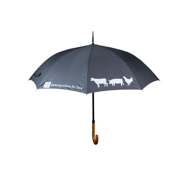 ein aufgespannter grauer Regenschirm