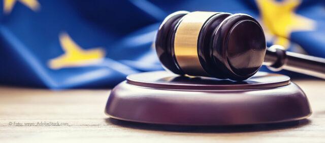 Europaflagge und Gesetzhammer