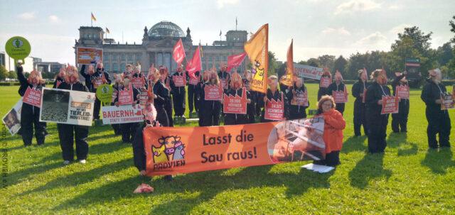 Demo gegen Megastaelle in Berlin