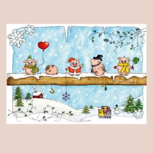 Weihnachtspostkarte mit Schweinchen Motiv